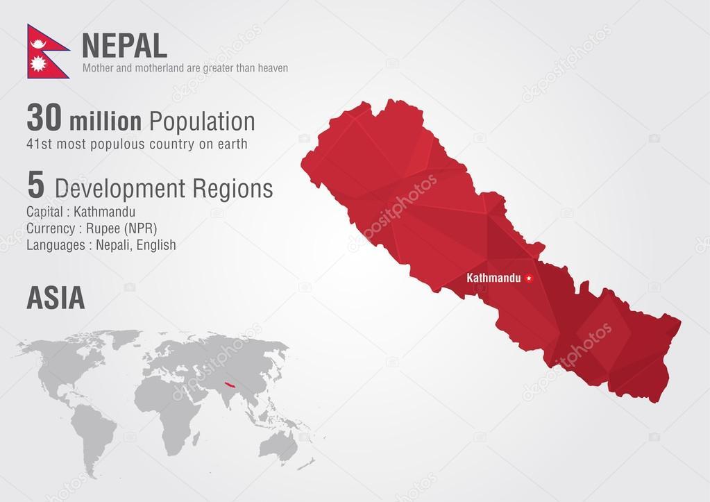 De Kaart Van De Wereld Van Nepal Met Een Pixel Diamant Textuur