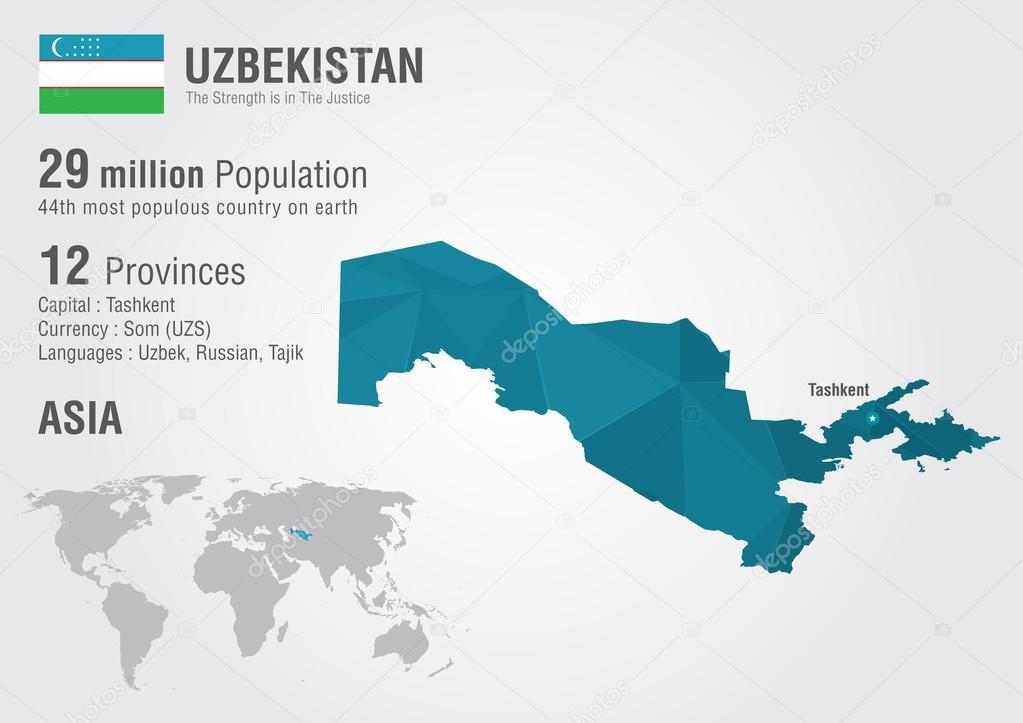 Mapa mundial de uzbekistn con una textura de diamante pixel mapa mundial de uzbekistn con una textura de diamante pixel vector de stock gumiabroncs Images