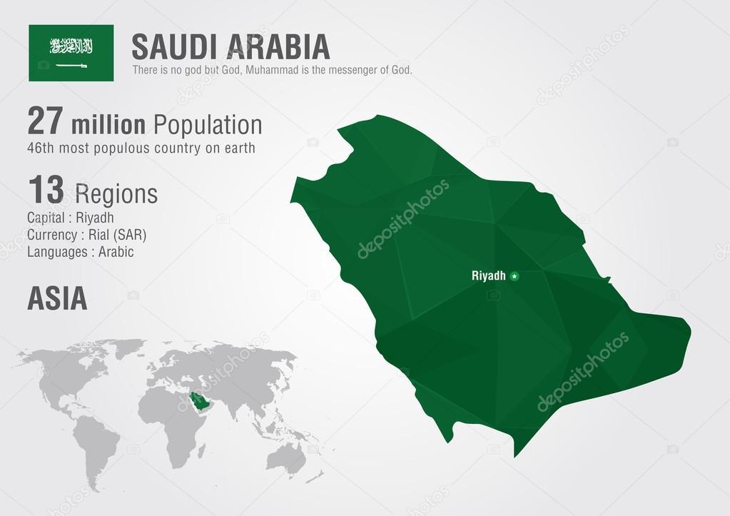 Saudi arabia world map with a pixel diamond texture stock vector saudi arabia world map with a pixel diamond texture stock vector gumiabroncs Images