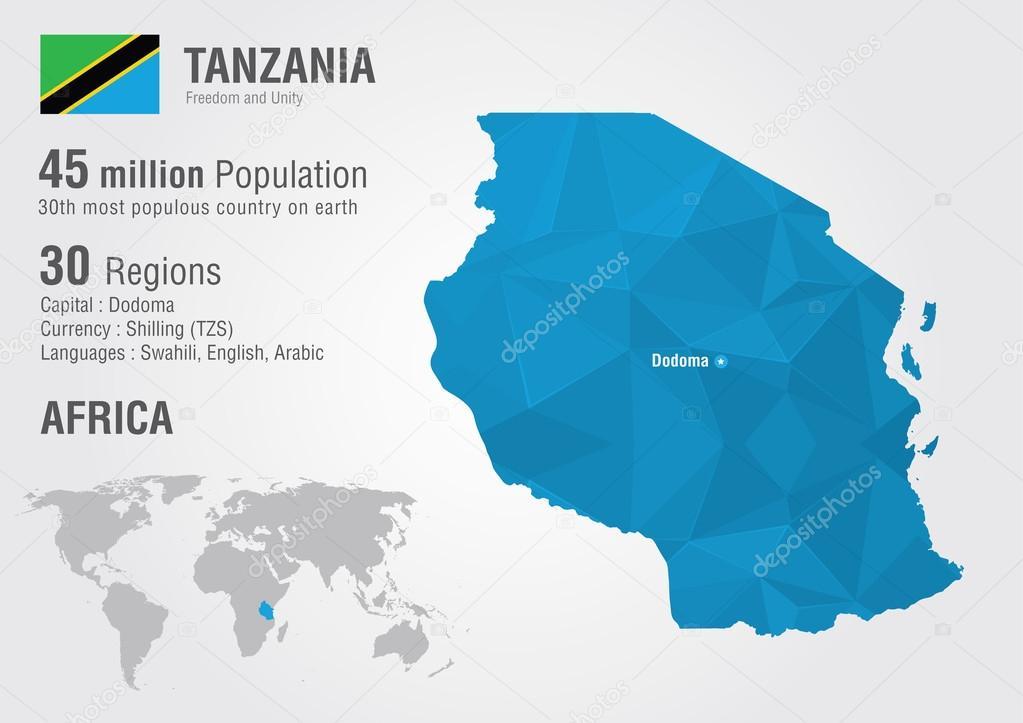 Tanzania world map with a pixel diamond texture Stock Vector