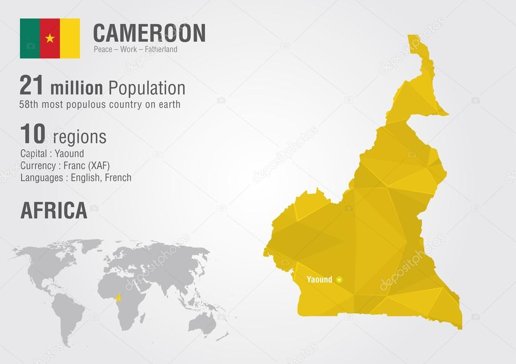 Cameroon world map with a pixel diamond texture. — Stock Vector ...