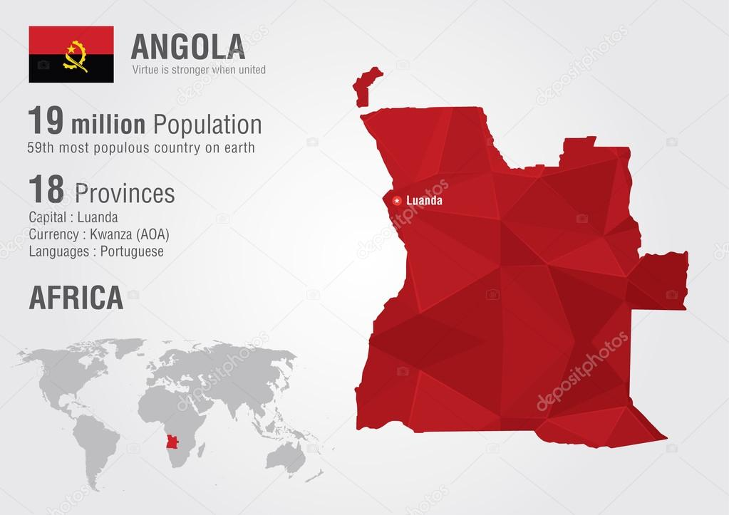 Angola world map with a pixel diamond texture stock vector angola world map with a pixel diamond texture world geography vector by kameonline gumiabroncs Choice Image