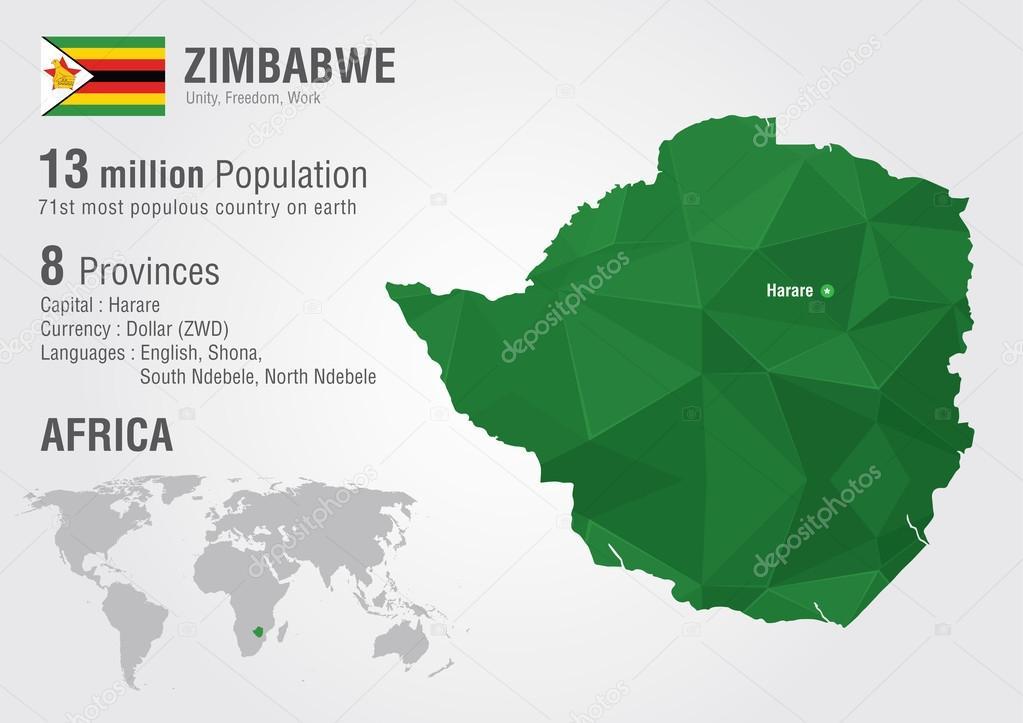 Zimbabwe World Map With A Pixel Diamond Texture Stock Vector