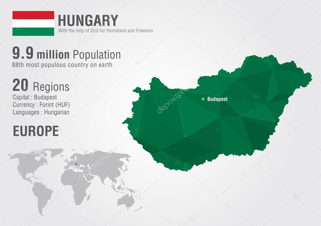 Hungary world map with a pixel diamond texture stock vector hungary world map with a pixel diamond texture stock vector gumiabroncs Choice Image