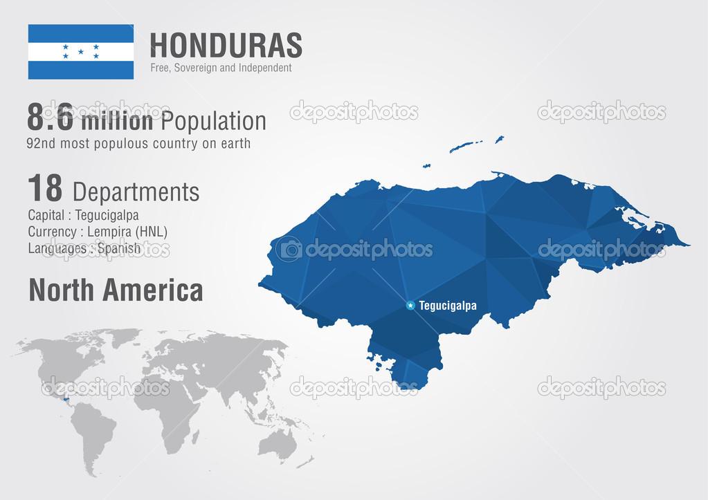 Honduras World Map With A Pixel Diamond Textire Stock Vector