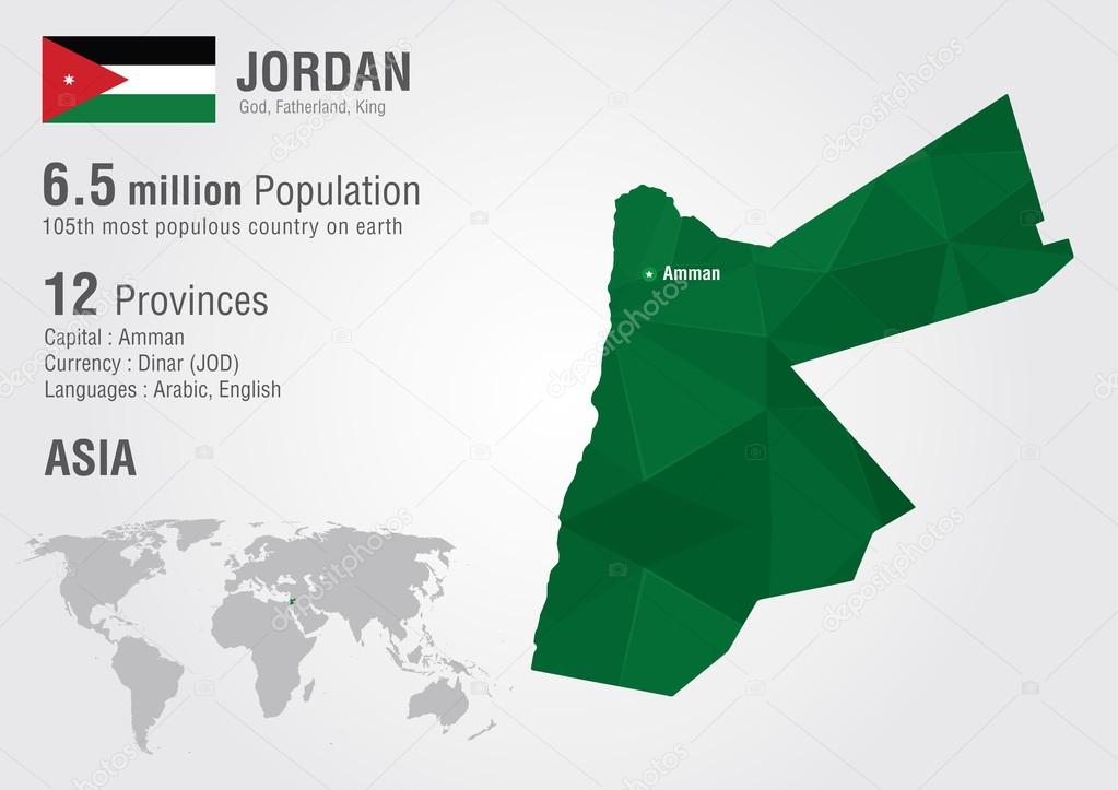 Jordan world map with a pixel diamond texture. — Stock Vector ...
