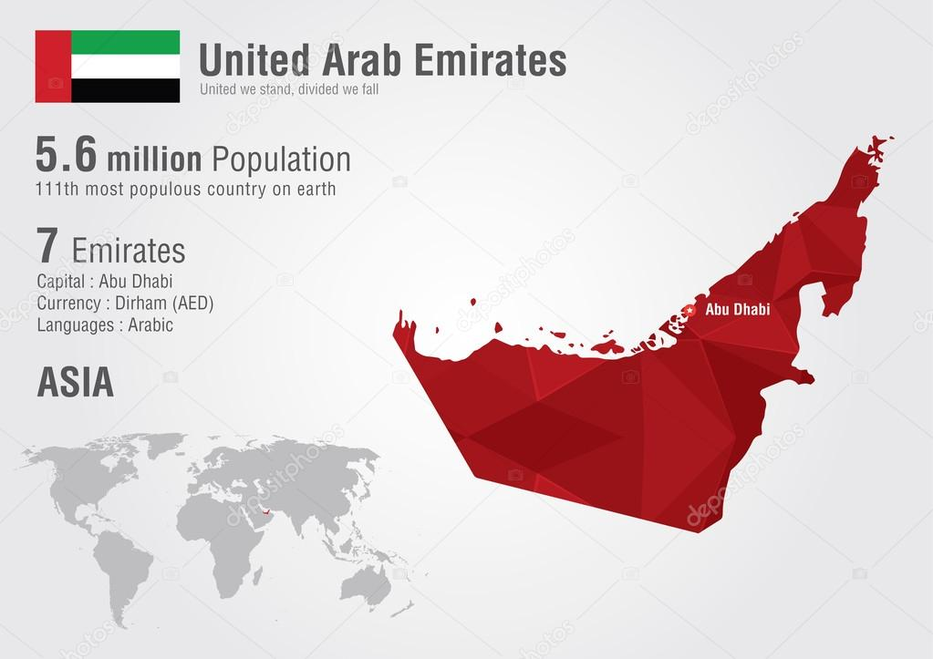uae united arab emirates world map with a pixel diamond texture stock vector