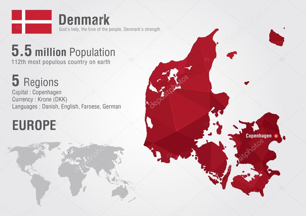 Denmark world map with a pixel diamond texture stock vector denmark world map with a pixel diamond texture world geography vector by kameonline gumiabroncs Choice Image