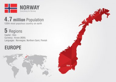 Norway world map with a pixel diamond texture.