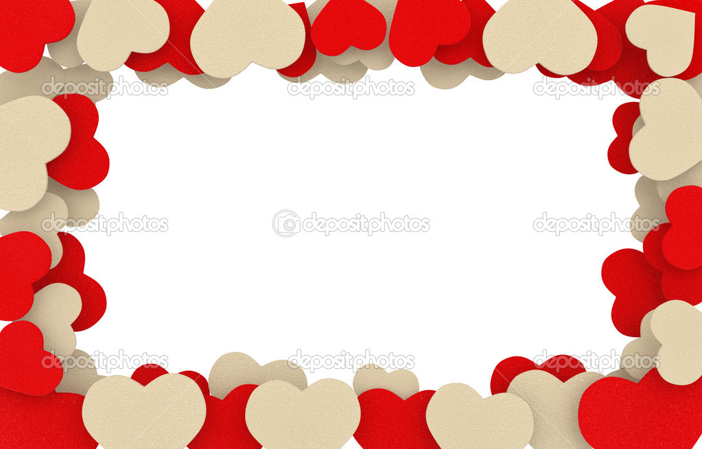 Marco de corazones de jab n color beige y rojo foto de - Marcos de corazones para fotos ...