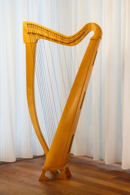 Celtic harp with strings standing