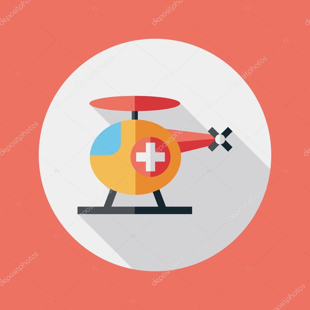 Elicottero 205 : Icona piatto elicottero medico con lunga ombra u vettoriali stock