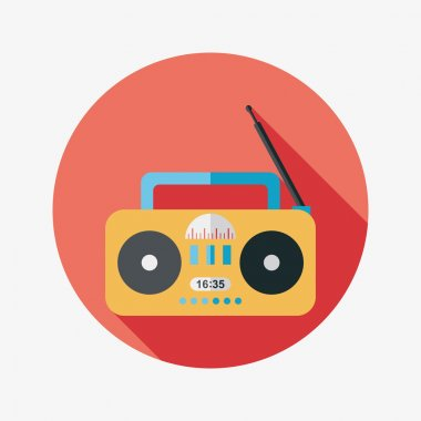 Radio flat icon with long shadow,eps10 stock vector