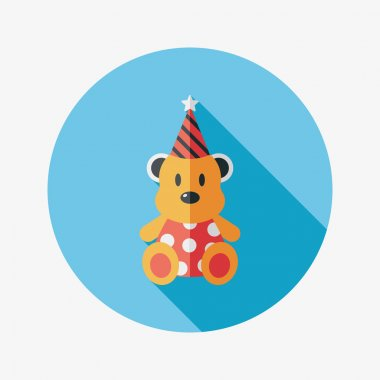 birthday teddy bear flat icon with long shadow,eps10