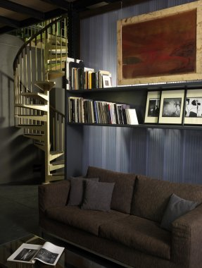 Environment with sofa and spiral staircase