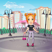 City promenade with a teen girl in jeans