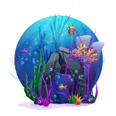 Underwater rocks with seaweed and fish fu