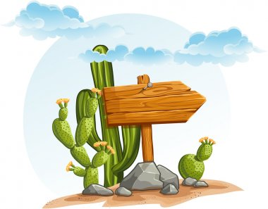 Wooden pointer with cacti