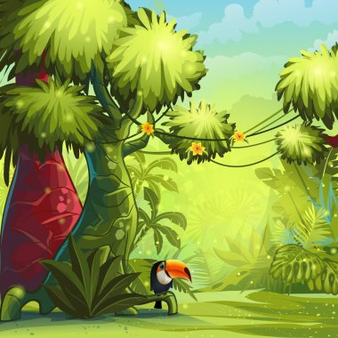 Sunny morning in the jungle with bird toucan