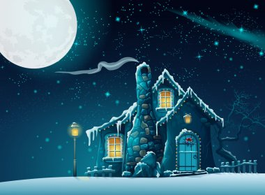 Winter night with a fabulous home in the moonlight