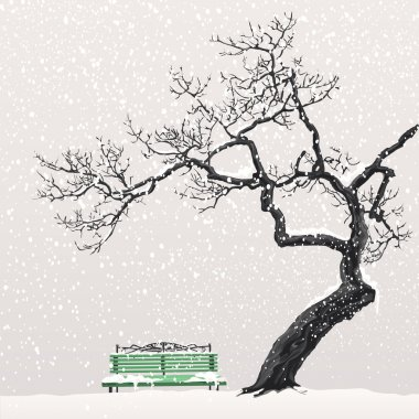 Winter landscape with a tree and a bench