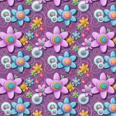 A seamless pattern of buttons in the shape of flowers. clip art vector