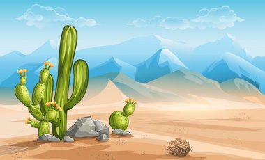 Desert with cactus on a background of mountains