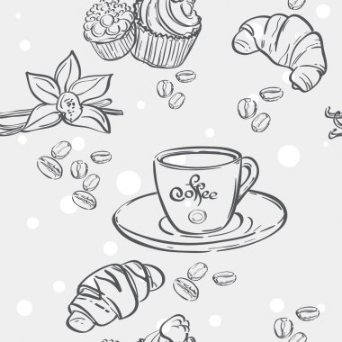 Pattern with cup of coffee, croissants and muffins