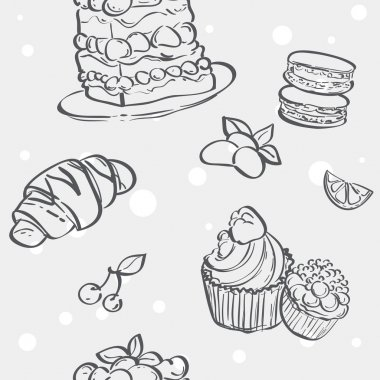 Pattern with cupcakes image, croissant and flan