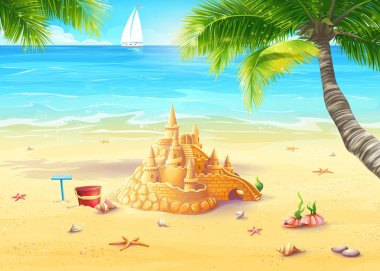 Sea shore with palm trees, seashells and sandcastles