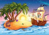 ilustrace Ostrov pokladů a pirátská loď