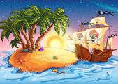 Fotografie ilustrace na ostrově s pirátskou lodí