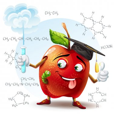 Illustration of school scholar apple with harmful substance in a test tube in his hand and the chemical formulas in the background.