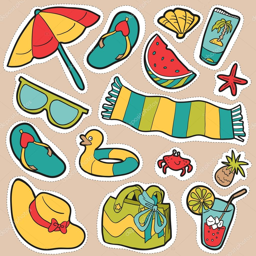 conjunto de objetos de praia de desenhos animados vetor adesivos
