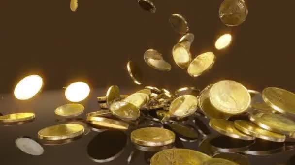 mince spadají v pomalém pohybu