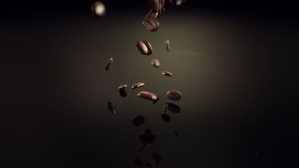 Coffee beans slow motion falling