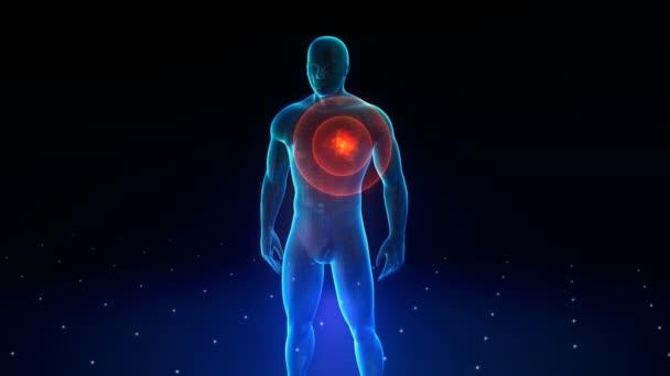 Menschlicher Körper mit sichtbaren Schmerzen