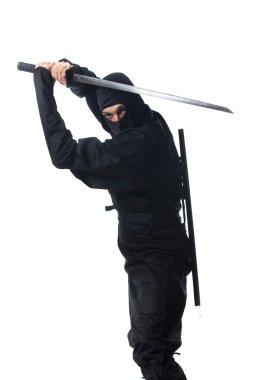 Ninja with sword on white