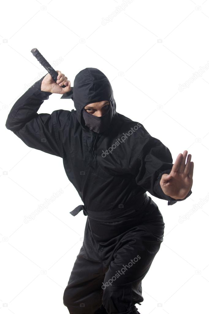 Ninja pull out the sword on white