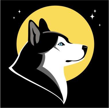 Husky dog and moon