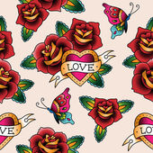 Photo Tattoo seamless pattern for st.Valentines day