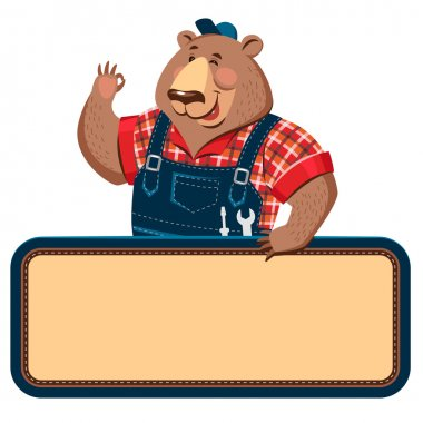 Craftsman bear with empty banner