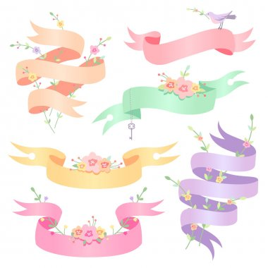 Set of cute romantic ribbons for design and decoration clip art vector