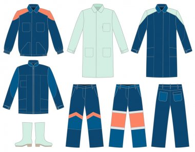 Set of protective work wear for your designe stock vector