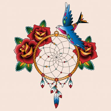 tattoo dream catcher with roses and bird