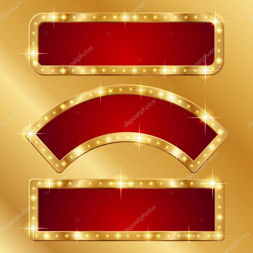 Holiday banners with gold border