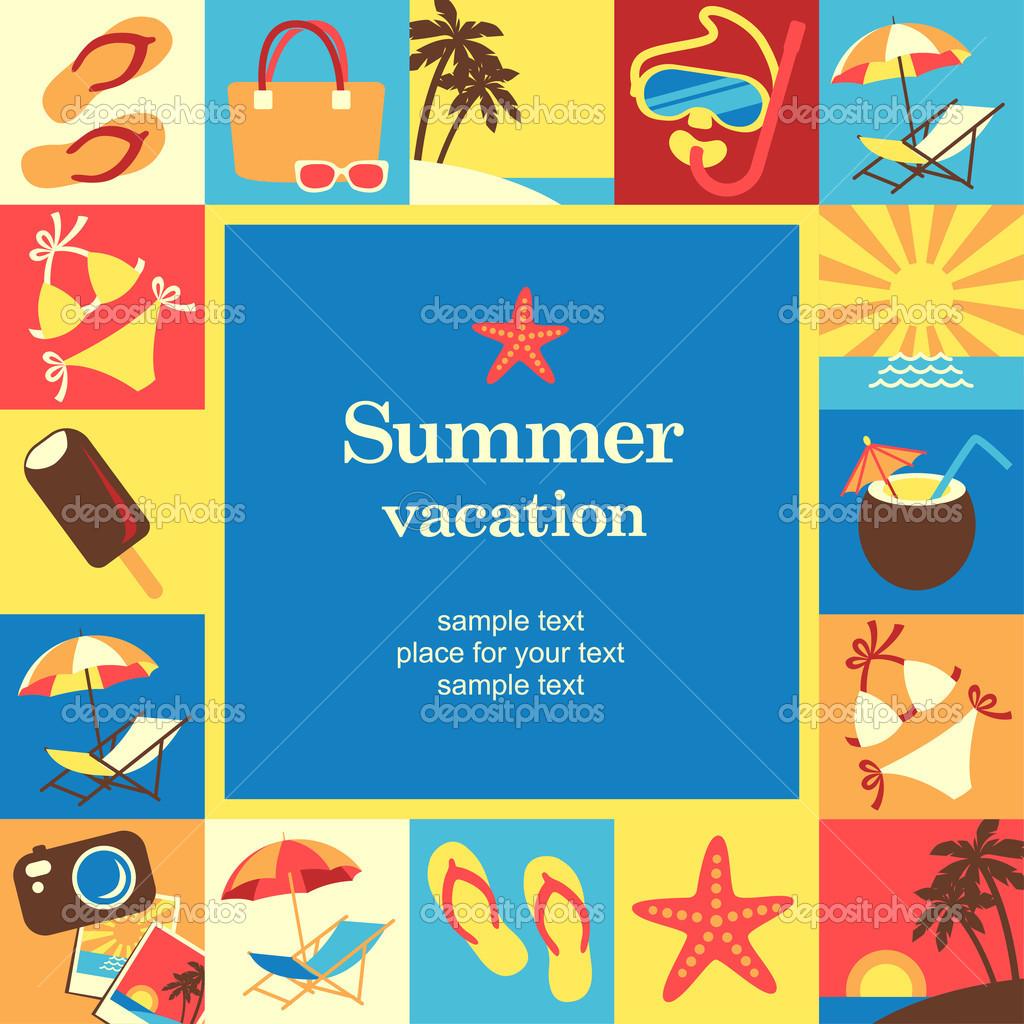 plantilla de tarjeta de verano vacaciones marco — Vector de stock ...