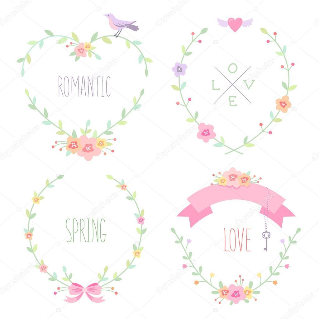 Reihe von romantischen floralen Rahmen — Stockvektor © reinekke ...