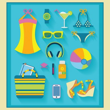 Summer and beach icons set - flat design
