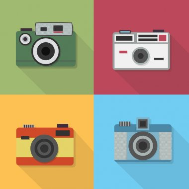 Vintage photo camera icon set - Flat modern design with long shadow